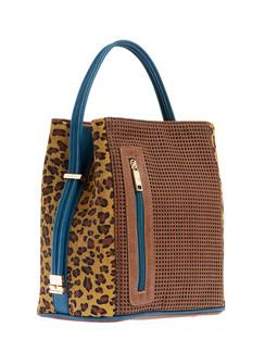 Cocoa/Urban Cheetah Leather Handbag