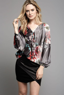 Silky Floral Print Tunic