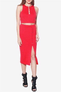 Red Midi Skirt and Crop Top Set