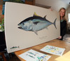 Karen with a limited edition giclee print of her bluefin tuna with a hand-painted remarque.