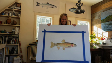 Karen Talbot holding the original when it was ALMOST finished. The limited edition giclee print is printed at the same size as the original painting.