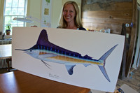 Artist Karen Talbot with the original white marlin painting (acrylic on board). The limited edition giclee prints are printed on canvas at the same size as the original. They are gallery-wrapped and ready-to-hang