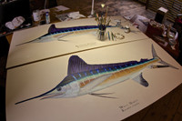 Pictured here are the two original billfish paintings in the studio. The limited edition, gallery-wrapped giclees on canvas are the same size as the originals.