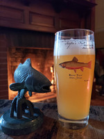 The front of the Two-Year Anniversary Angler's Pint features a brand new brook trout illustration by Karen Talbot. This is a different brookie than the one on the Brook Trout Angler's Pint.