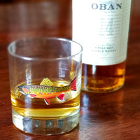 The 11-ounce handpainted Brook Trout Rocks Glass is perfect for a wee dram.