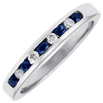 R3550SA, 14kt nine stone anniversary ring.  Five blue sapphires and four round brilliant diamonds.