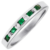 R3550EM, Nine stone anniversary ring.  Five emeralds and four round diamonds.