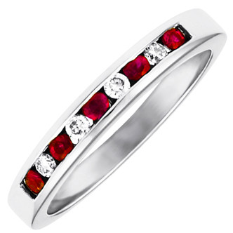 R3550RU, 14kt Nine stone anniversary ring.  Five rubies and four diamonds.