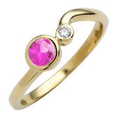 October birthstone, Created Pink Sapphire 4mm round set in 10kt yellow gold with a .03ct sparkling diamond.