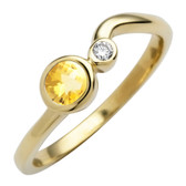November birthstone, genuine Citrine 4mm round set in 10kt yellow gold with a .03ct sparkling diamond.