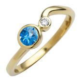 December birthstone, genuine Blue Topaz 4mm round set in 10kt yellow gold with a .03ct sparkling diamond.