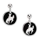 Sterling silver earrings of cowboy riding bucking horse. Charms dangle from 6mm pierced ball stud earrings. Matching pendant PD1479C. Licensed by the University of Wyoming.