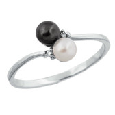 Black and white 3.5mm pearls with accent diamonds set in 10kt white or yellow gold.  Also available with two white pearls.