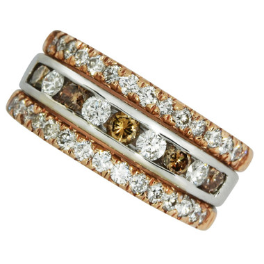 """Hot Chocolate"" 14kt two tone hot chocolate and white diamond anniversary ring 1.49cttw."