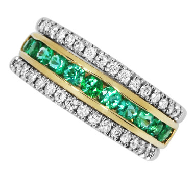14kt two tone Emerald and Diamond band.  TGW 0.98cttw