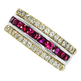 14kt Two tone sparkling rubies and diamond band.  TGW 1.15cttw