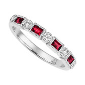 10kt Anniversary ring, four baguette cut genuine rubies and five round brilliant diamonds. Stackable