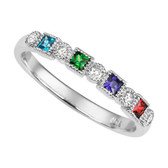 10kt Mother's Ring. Four synthetic princess cut birthstones with five round brilliant diamonds.
