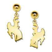 "14kt Horse and rider ""Cowboy Joe"" earrings, dangled from 6mm ball earrings."