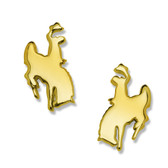"""Cowboy Joe"" 10kt white or yellow gold pierced post earrings. Matches pendant PD1300-10K Licensed by the University of Wyoming"