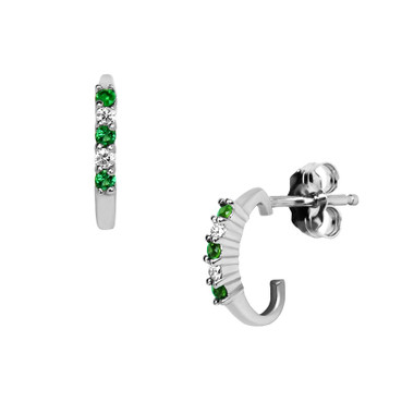 Genuine Emerald & Diamond Earrings 14kt