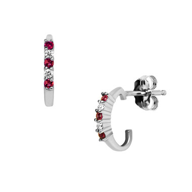 ER998RU Genuine ruby & diamond earrings set in 14kt white gold.