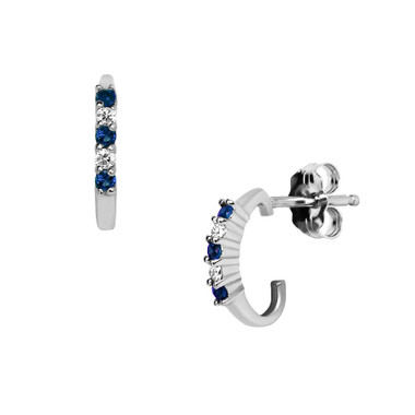 ER998SA Genuine blue sapphire & white diamond earrings set in 14kt white gold