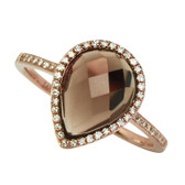 Smokey Topaz Ring 14kt rose gold, 2.69ct pear shape and checkerboard cut Smokey Topaz with .14cttw of diamonds.  Total Gem Weight 2.76cttw
