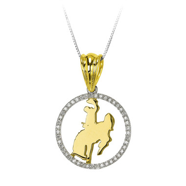 45 Sparkling diamonds surrounding Cowboy Joe and Horse. 14kt two tone, white and yellow gold. Officially licensed by the University of Wyoming.