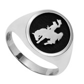 Cowboy Joe Sterling Silver Ring Licensed by the University of Wyoming
