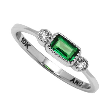 10kt Baguette & Diamond Ring Select your center stone.