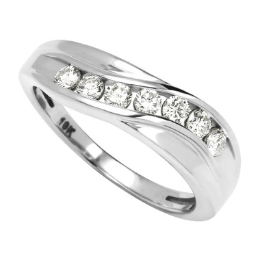 3/8cttw, Diamond Band set in 10kt white or yellow gold