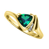 6mm Trillion Cut Created Emerald & Diamond Ring