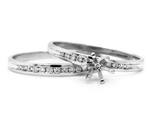 Affordable semi bridal set. 10kt white or yellow gold Engagement ring 0.08cttw Diamond band 0.10cttw Total diamond weight .18cttw