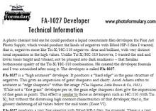 FA-1027 Film Developer