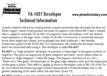 FA-1027 Film Developer
