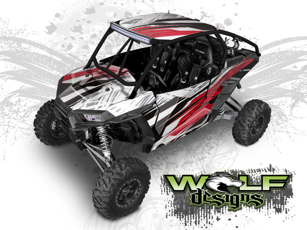 Red and Black Polaris XP1000 UTV Wrap Kit