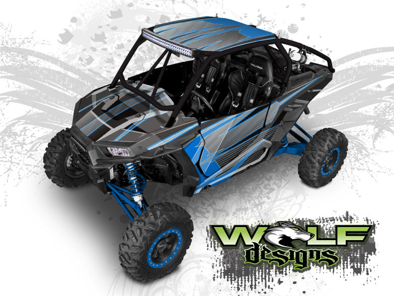 Blue Polaris XP1K UTV Wrap Kit