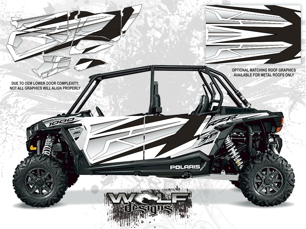 Polaris RZR XP4 1000 - White Lightning Monochrome Door Kit