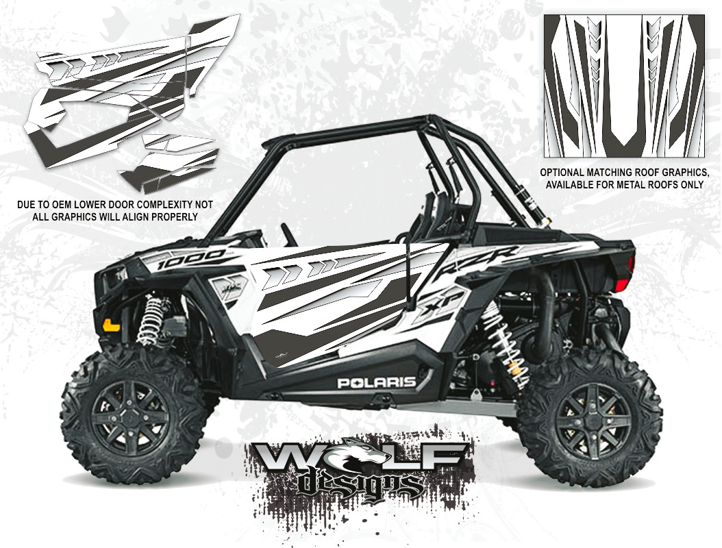 White Lightning Monochrome Utv Door Graphic Kit Polaris