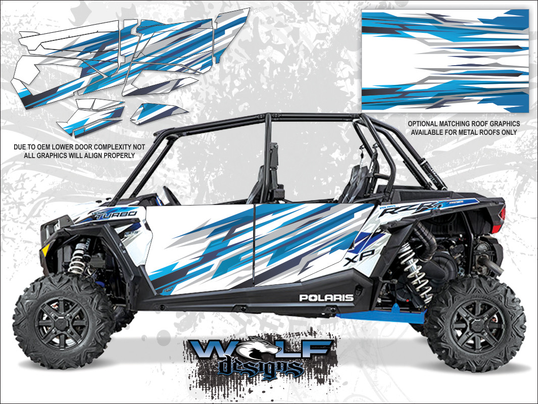 d4ec884cd1a Polaris RZR XP4 Turbo - Matte White Lightning UTV Door Graphics Kit