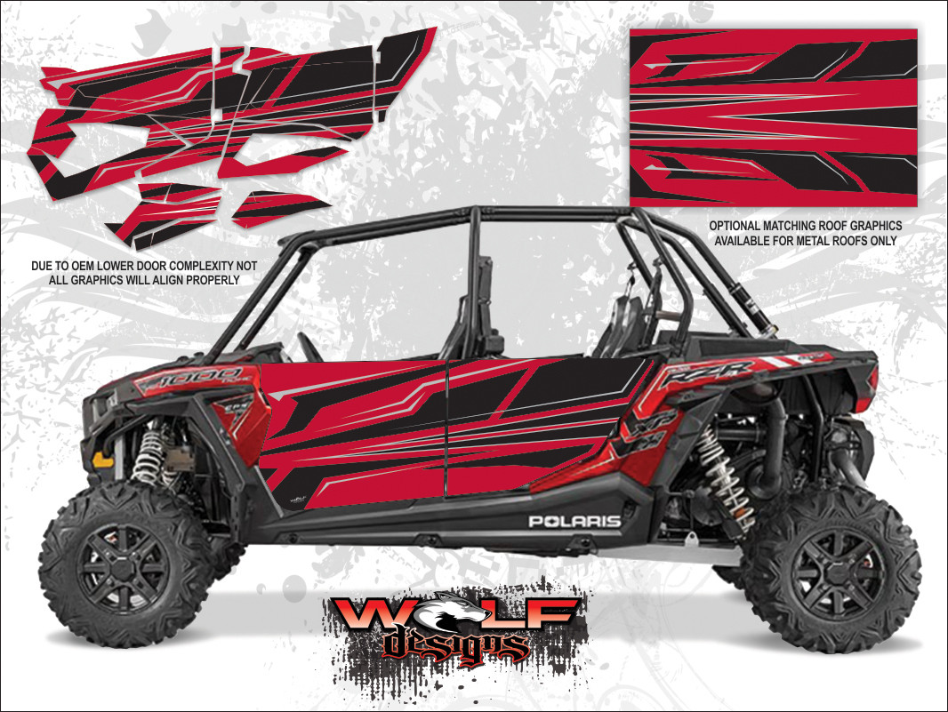 Polaris Rzr Xp4 1000 Sunset Red Utv Door Graphics Kit
