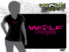 2016 Womens V-neck Tee - Black Front