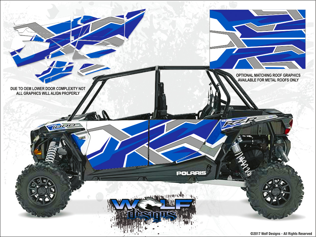WD-DKB-036 - 2017 RZR XP4 Turbo - White Lightning Reflex Blue - Door Kit