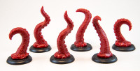 Shadows of Brimstone: 6 Tentacle Miniatures in Red