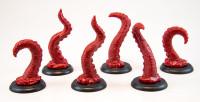 Shadows of Brimstone: 6 Tentacle Miniatures in Red (Original Versions)
