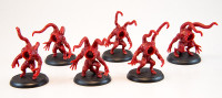Shadows of Brimstone: 6 Strangler Miniatures in Red