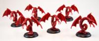 Shadows of Brimstone: 6 Hellbat Miniatures in Red (Original Version)