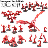 Shadows of Brimstone: Swamps of Death Miniatures Full Set in Red (Original Versions)