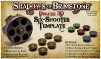 Shadows of Brimstone: Deluxe 3D Gunslinger Six-Shooter Template LIMITED EDITION